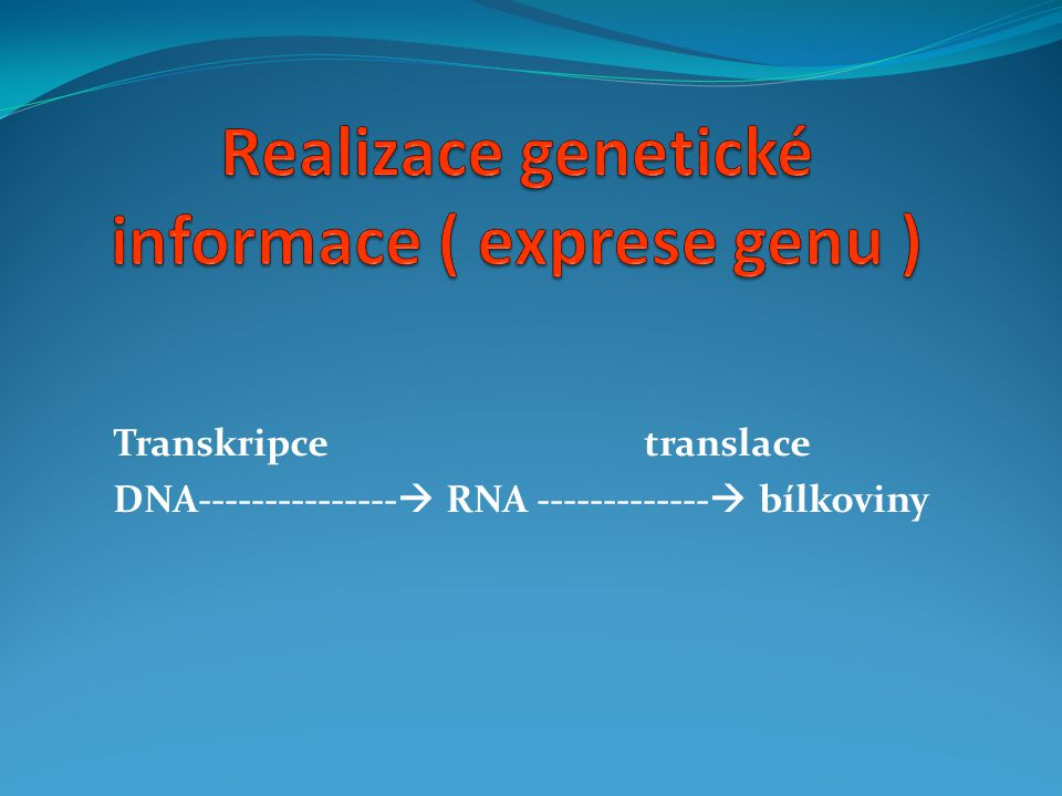 Realizace genetické informace ( exprese genu )