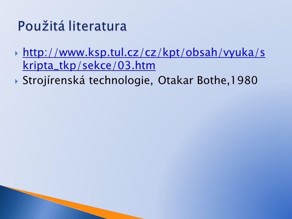 Použitá literatura http://www.ksp.tul.cz/cz/kpt/obsah/vyuka/s kripta_tkp/sekce/03.htm.