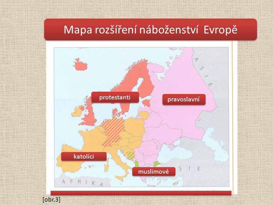 Mapa rozšíření náboženství Evropě