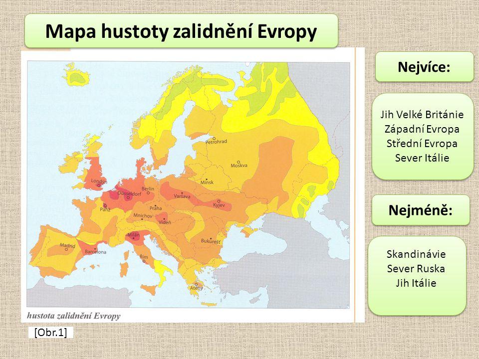 Mapa hustoty zalidnění Evropy