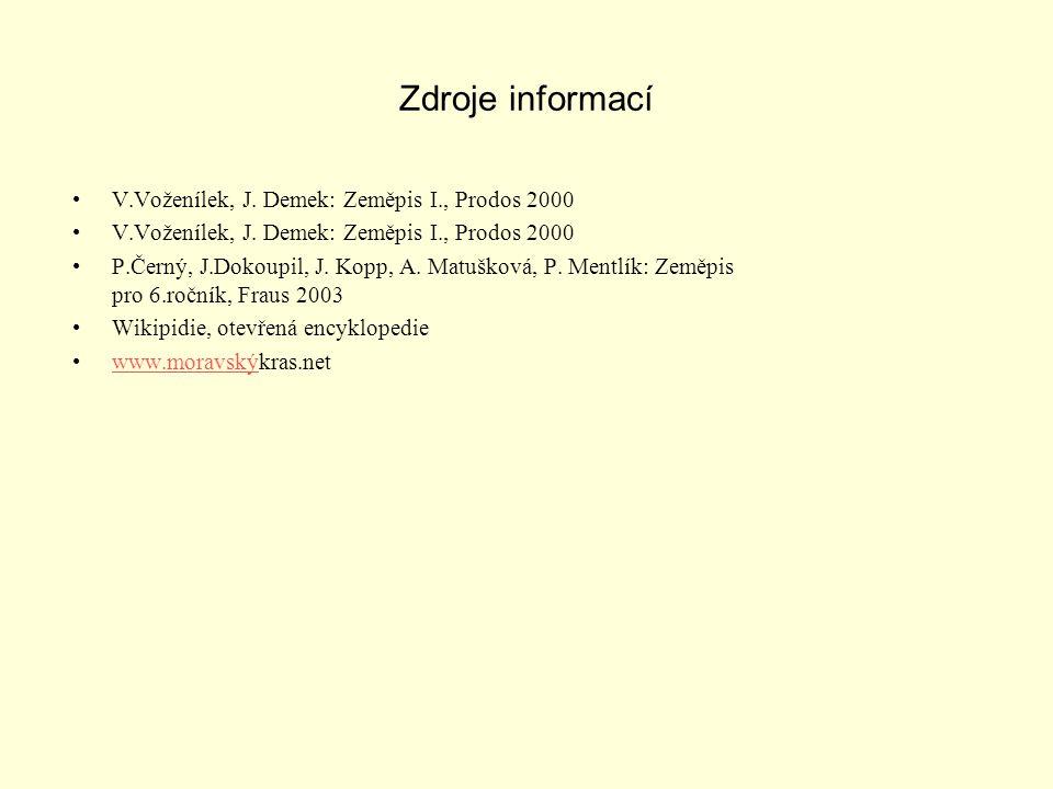 Zdroje informací V.Voženílek, J. Demek: Zeměpis I., Prodos 2000