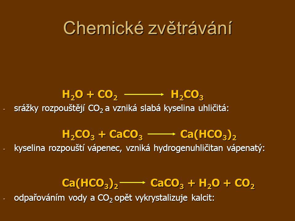 Chemické zvětrávání Ca(HCO3)2 CaCO3 + H2O + CO2 H2O + CO2 H2CO3