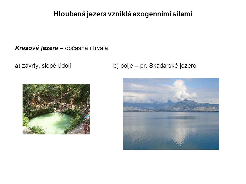 Hloubená jezera vzniklá exogenními silami