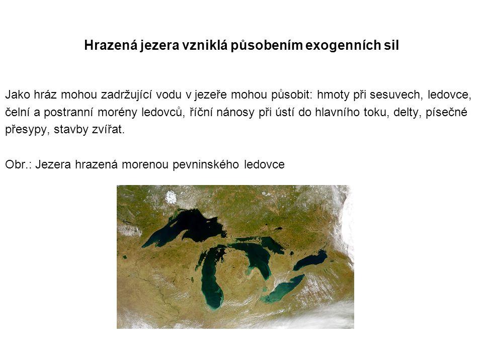 Hrazená jezera vzniklá působením exogenních sil