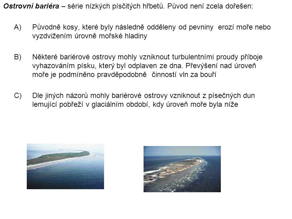 Ostrovní bariéra – série nízkých písčitých hřbetů