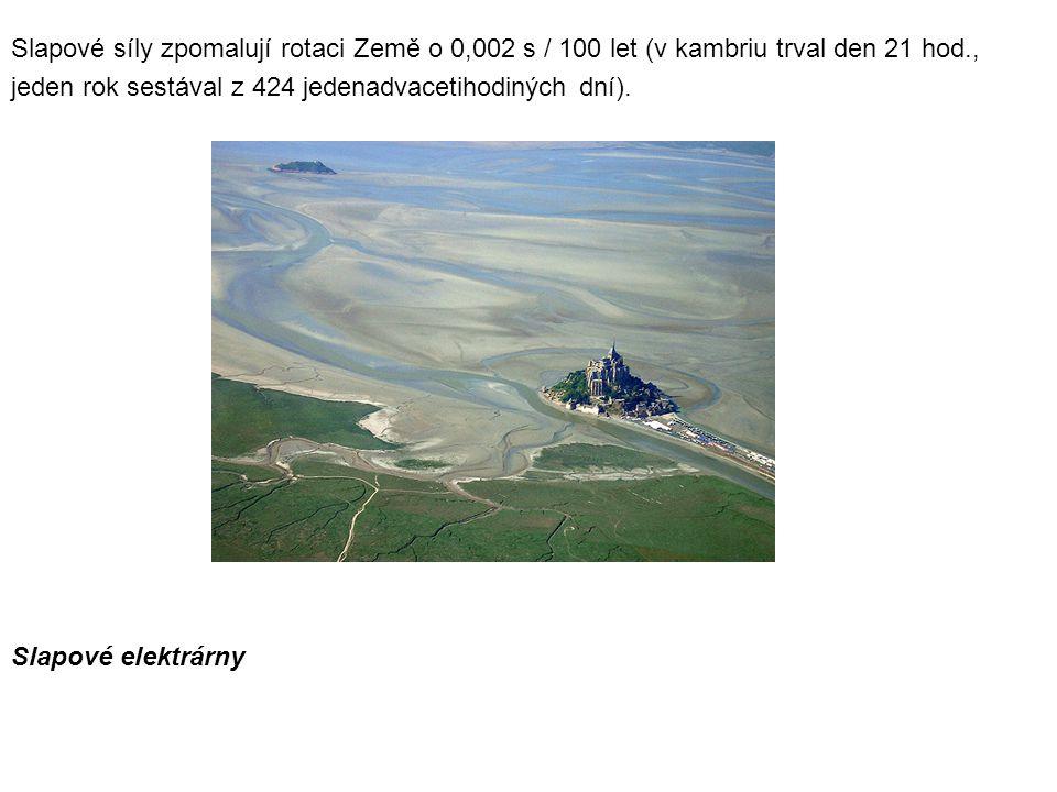 Slapové síly zpomalují rotaci Země o 0,002 s / 100 let (v kambriu trval den 21 hod.,