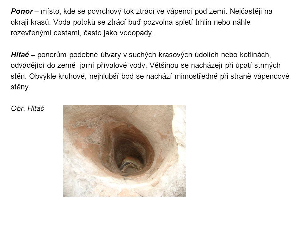 Ponor – místo, kde se povrchový tok ztrácí ve vápenci pod zemí