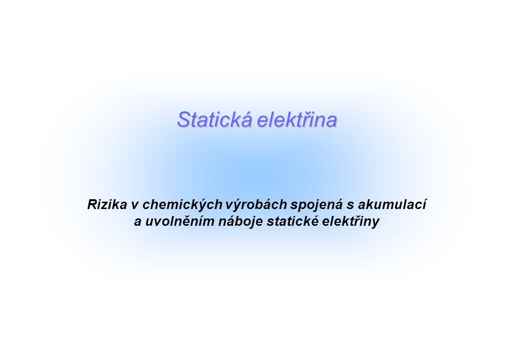 Statická elektřina Rizika v chemických výrobách spojená s akumulací a uvolněním náboje statické elektřiny.