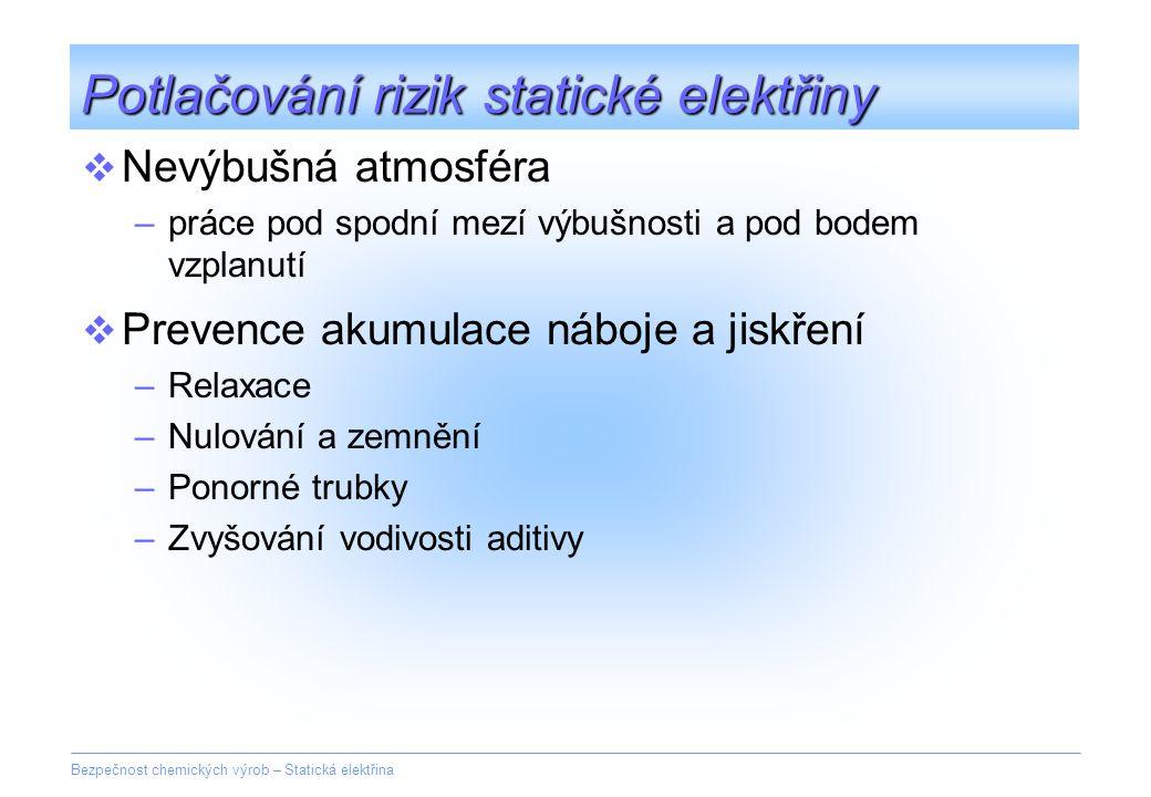 Potlačování rizik statické elektřiny
