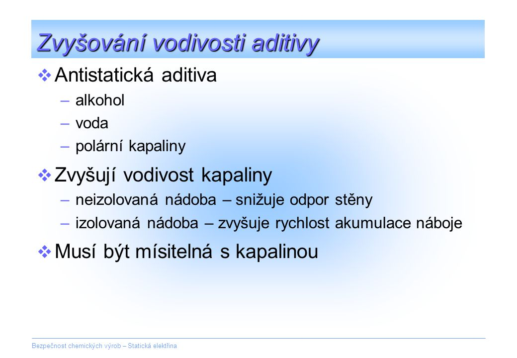 Zvyšování vodivosti aditivy