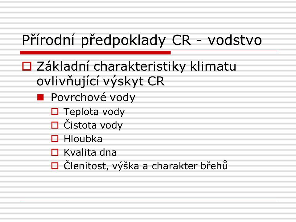 Přírodní předpoklady CR - vodstvo