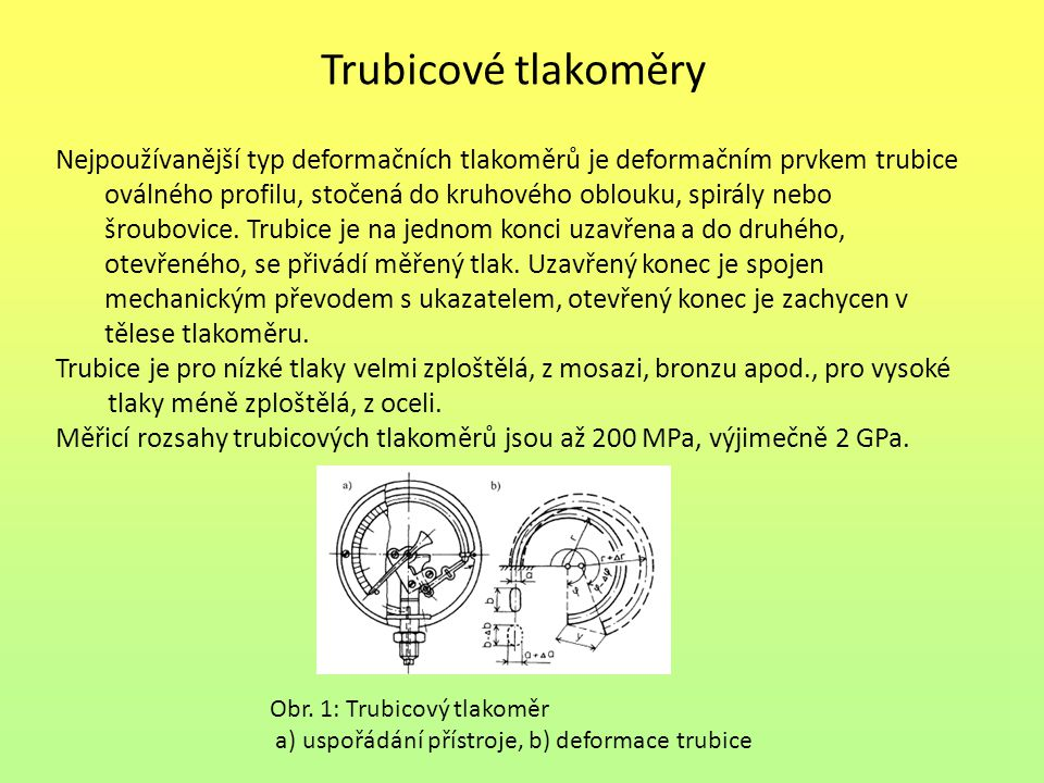 Trubicové tlakoměry