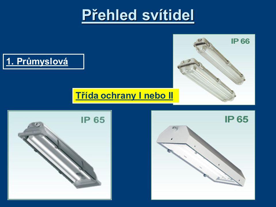 Přehled svítidel 1. Průmyslová Třída ochrany I nebo II