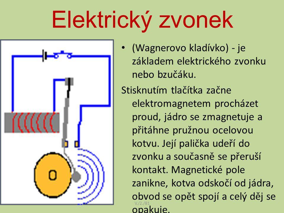 Elektrický zvonek (Wagnerovo kladívko) - je základem elektrického zvonku nebo bzučáku.