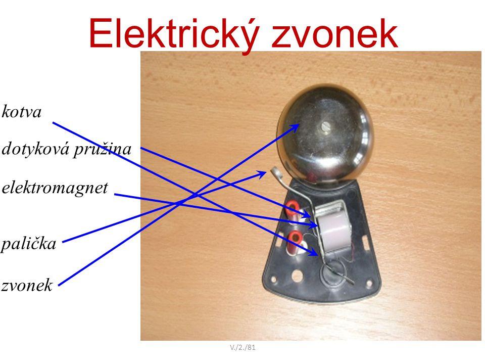 Elektrický zvonek kotva dotyková pružina elektromagnet palička zvonek