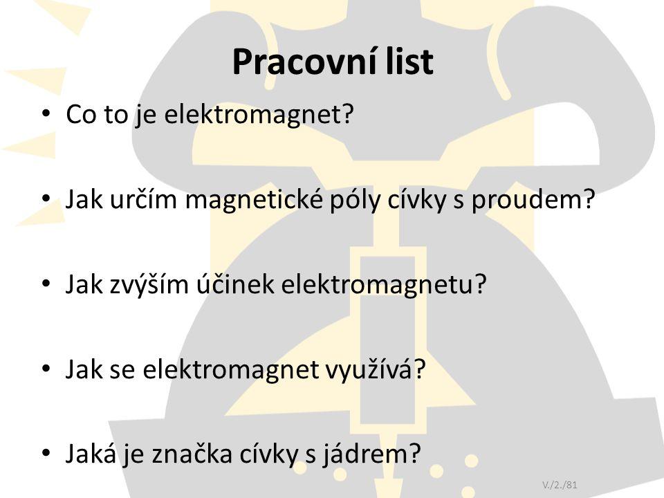Pracovní list Co to je elektromagnet