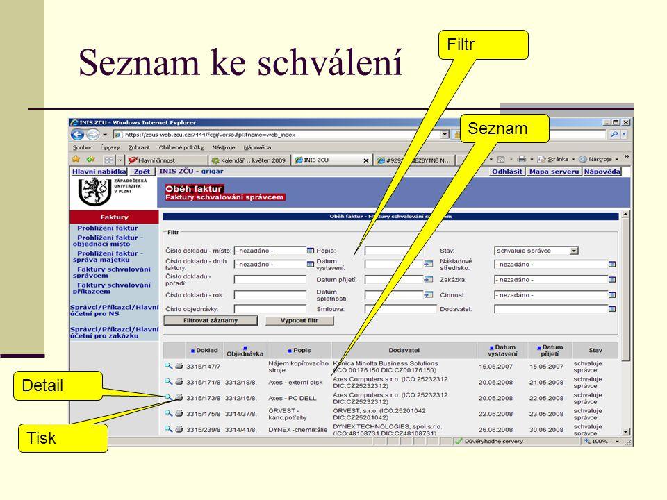 Seznam ke schválení Filtr Seznam Detail Tisk