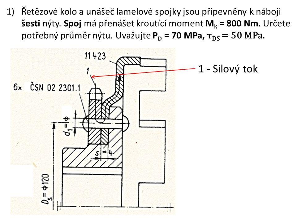 Řetězové kolo a unášeč lamelové spojky jsou připevněny k náboji šesti nýty. Spoj má přenášet kroutící moment Mk = 800 Nm. Určete potřebný průměr nýtu. Uvažujte PD = 70 MPa, τDS = 50 MPa.