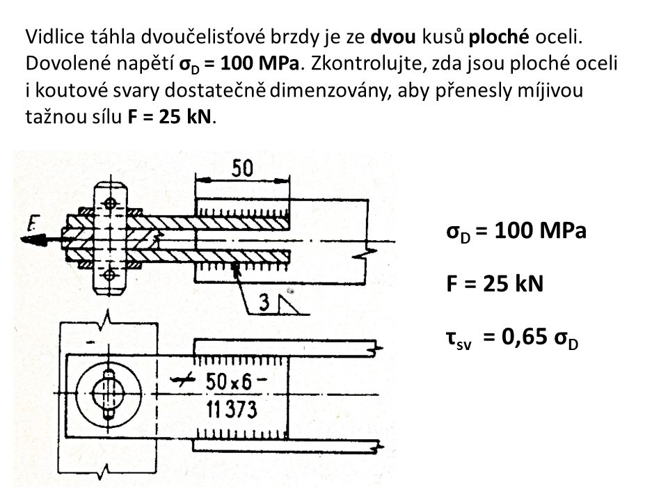 Vidlice táhla dvoučelisťové brzdy je ze dvou kusů ploché oceli