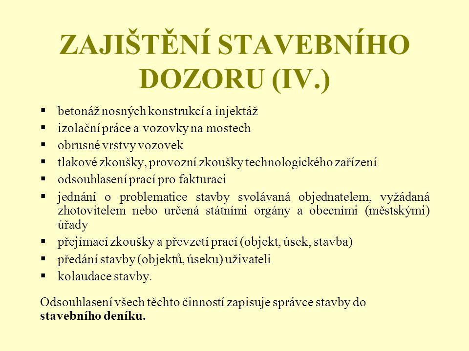 ZAJIŠTĚNÍ STAVEBNÍHO DOZORU (IV.)