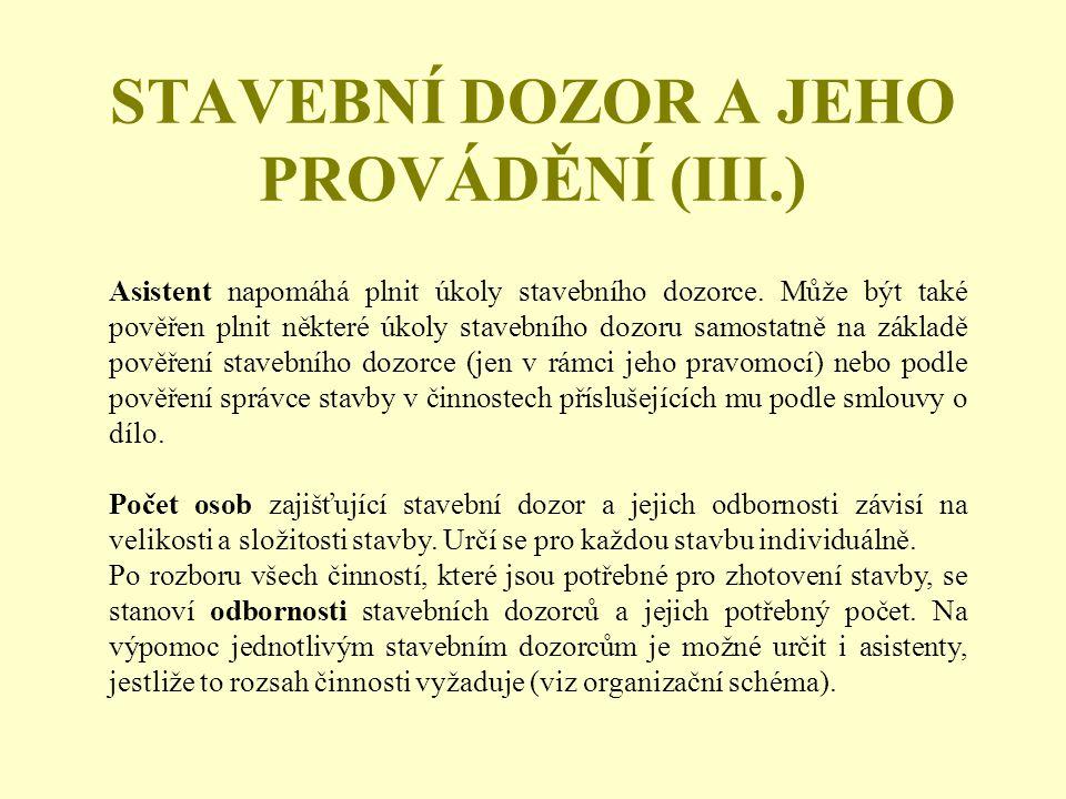 STAVEBNÍ DOZOR A JEHO PROVÁDĚNÍ (III.)