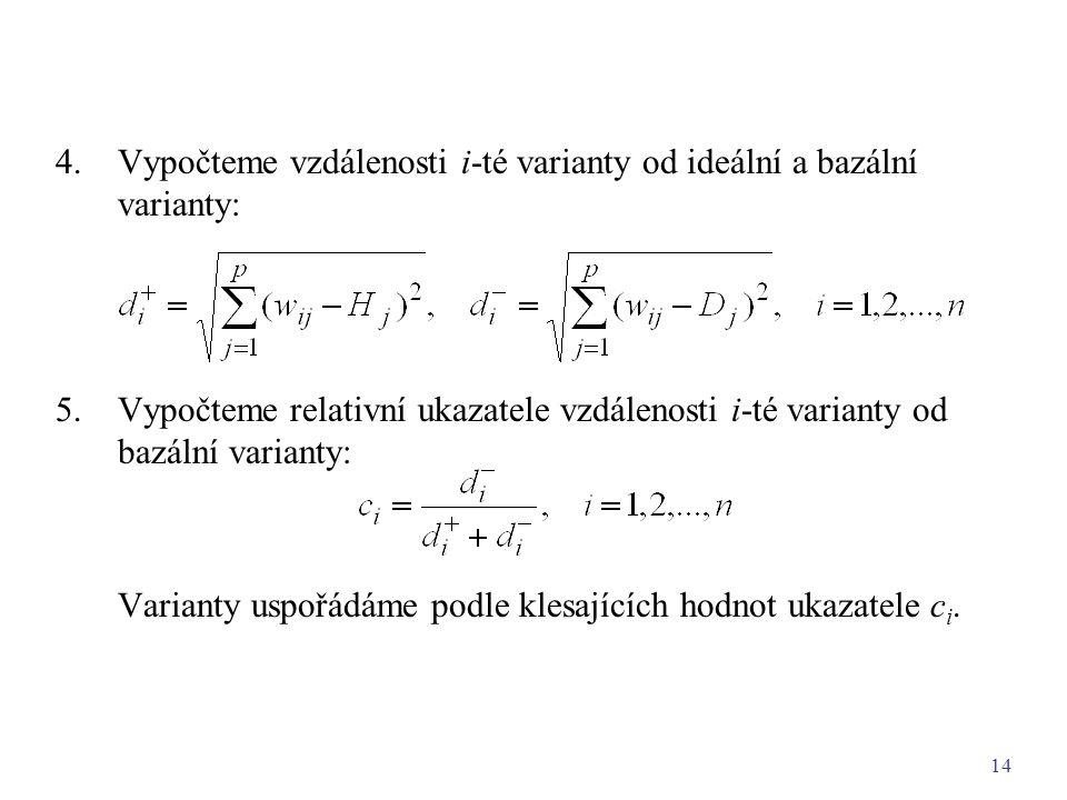 4. Vypočteme vzdálenosti i-té varianty od ideální a bazální varianty: