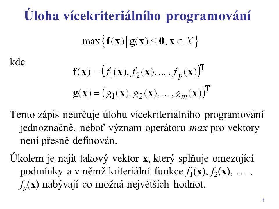 Úloha vícekriteriálního programování