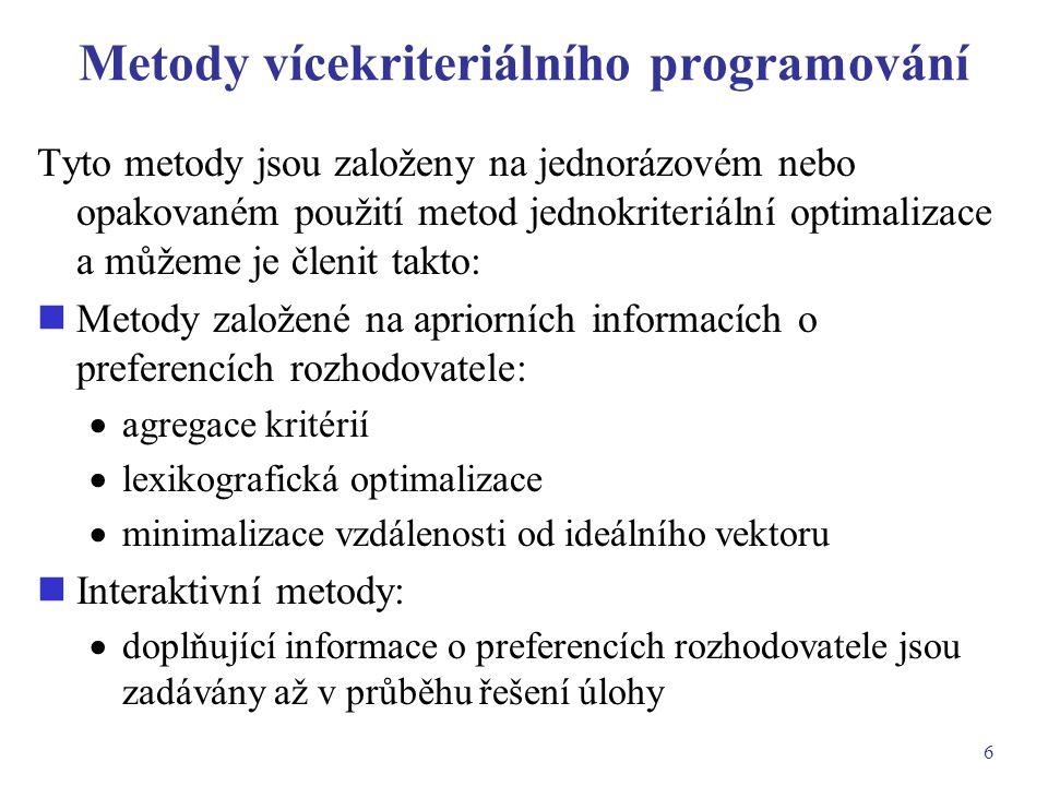 Metody vícekriteriálního programování