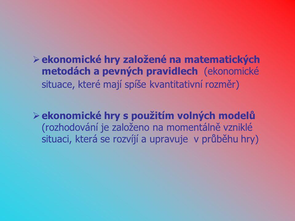 ekonomické hry založené na matematických metodách a pevných pravidlech (ekonomické situace, které mají spíše kvantitativní rozměr)