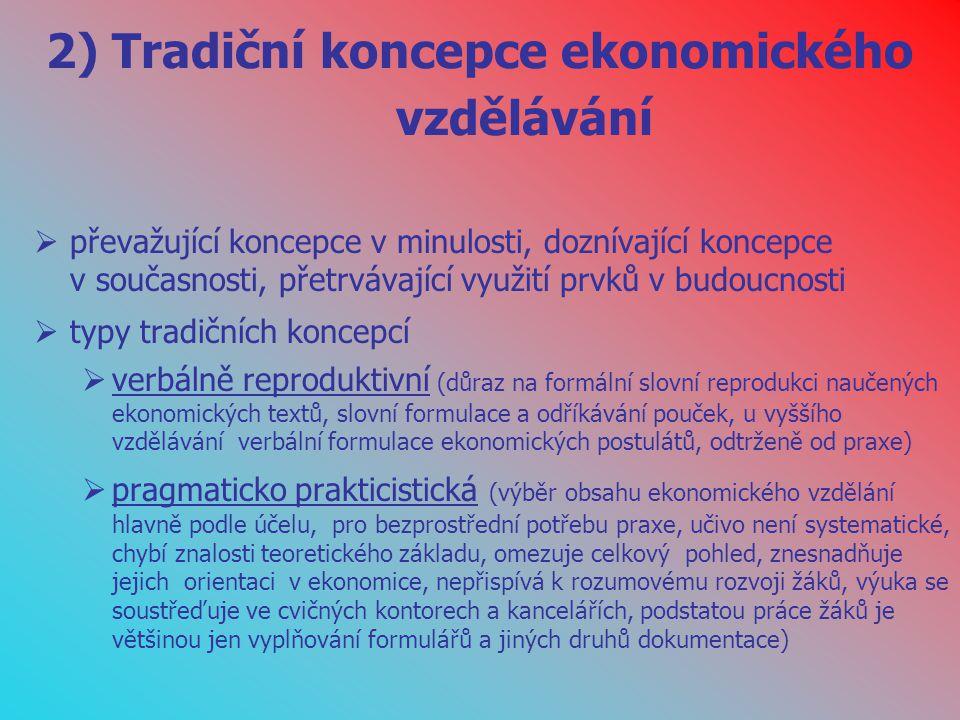 2) Tradiční koncepce ekonomického vzdělávání