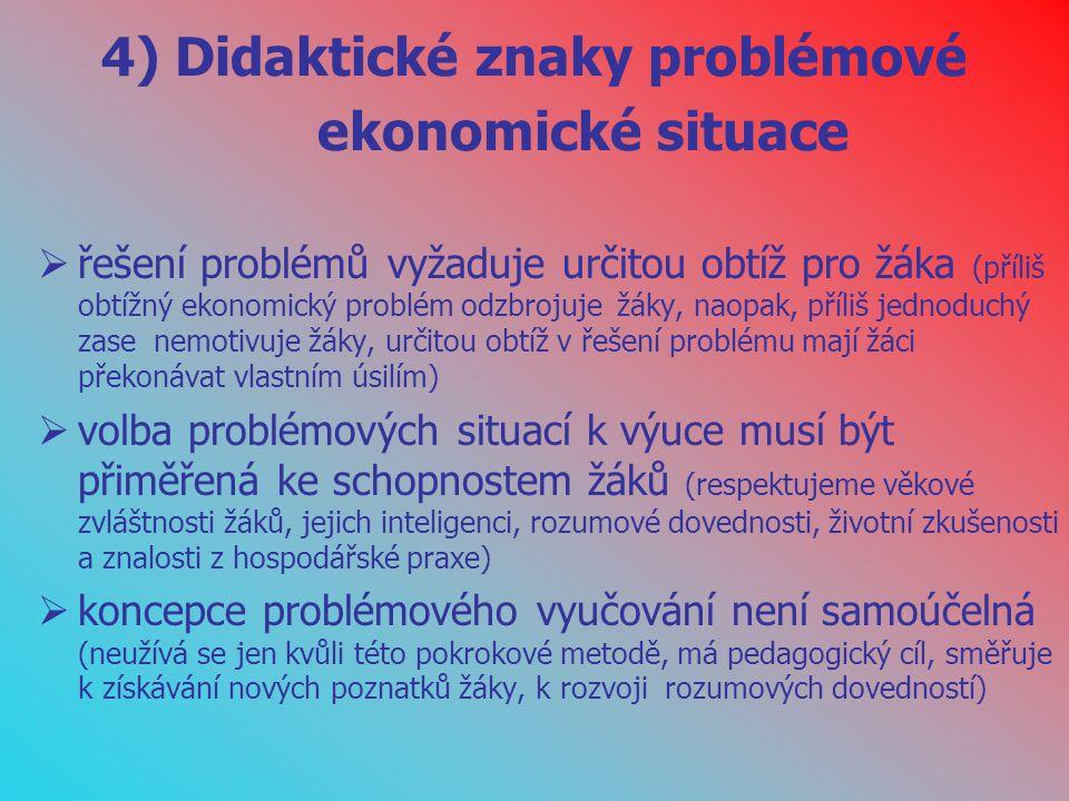 4) Didaktické znaky problémové ekonomické situace
