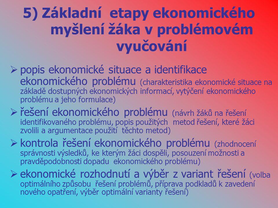5) Základní etapy ekonomického myšlení žáka v problémovém vyučování