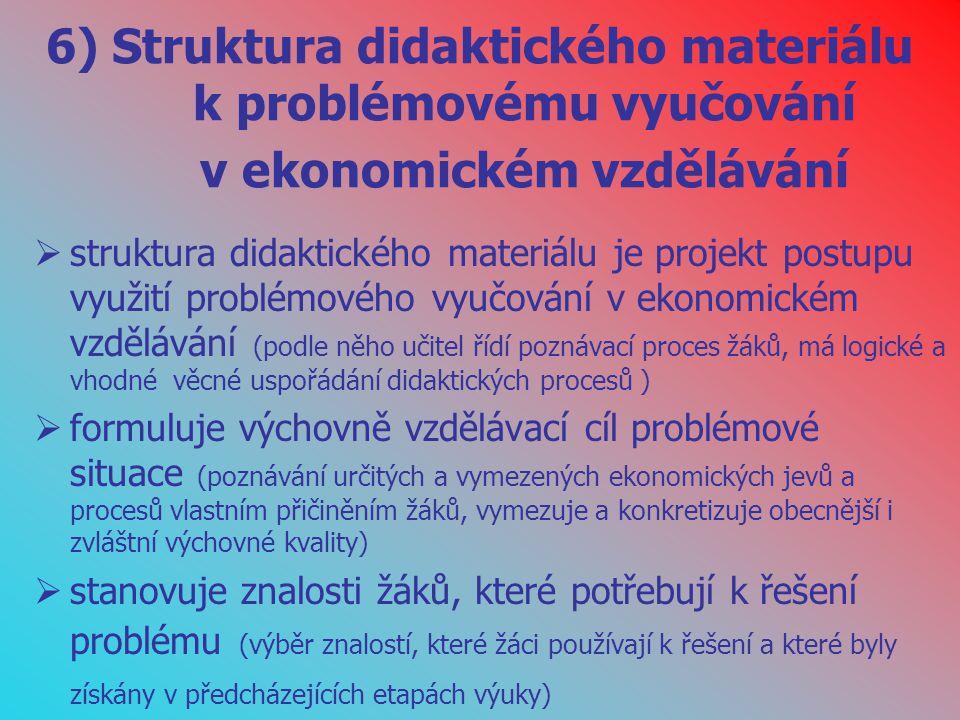 6) Struktura didaktického materiálu k problémovému vyučování v ekonomickém vzdělávání