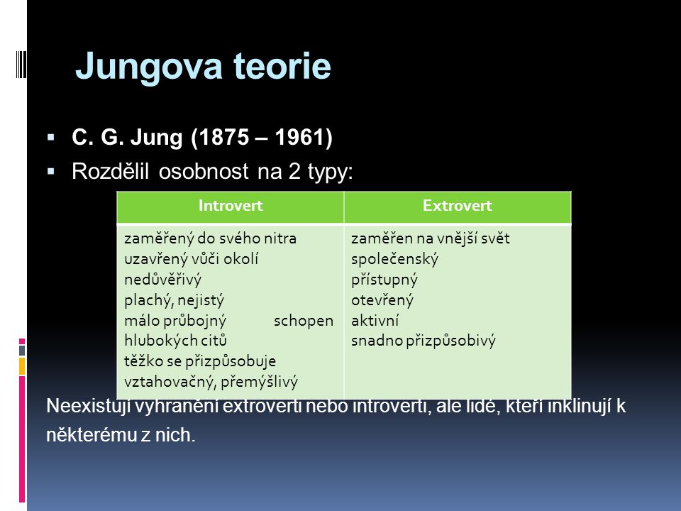 Jungova teorie C. G. Jung (1875 – 1961) Rozdělil osobnost na 2 typy: