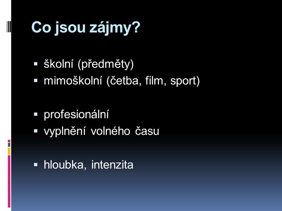 Co jsou zájmy školní (předměty) mimoškolní (četba, film, sport)
