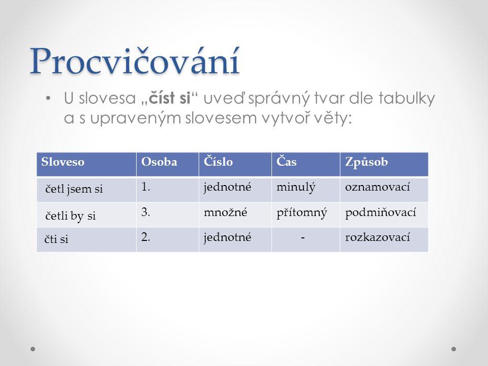 """Procvičování U slovesa """"číst si uveď správný tvar dle tabulky a s upraveným slovesem vytvoř věty: Sloveso."""