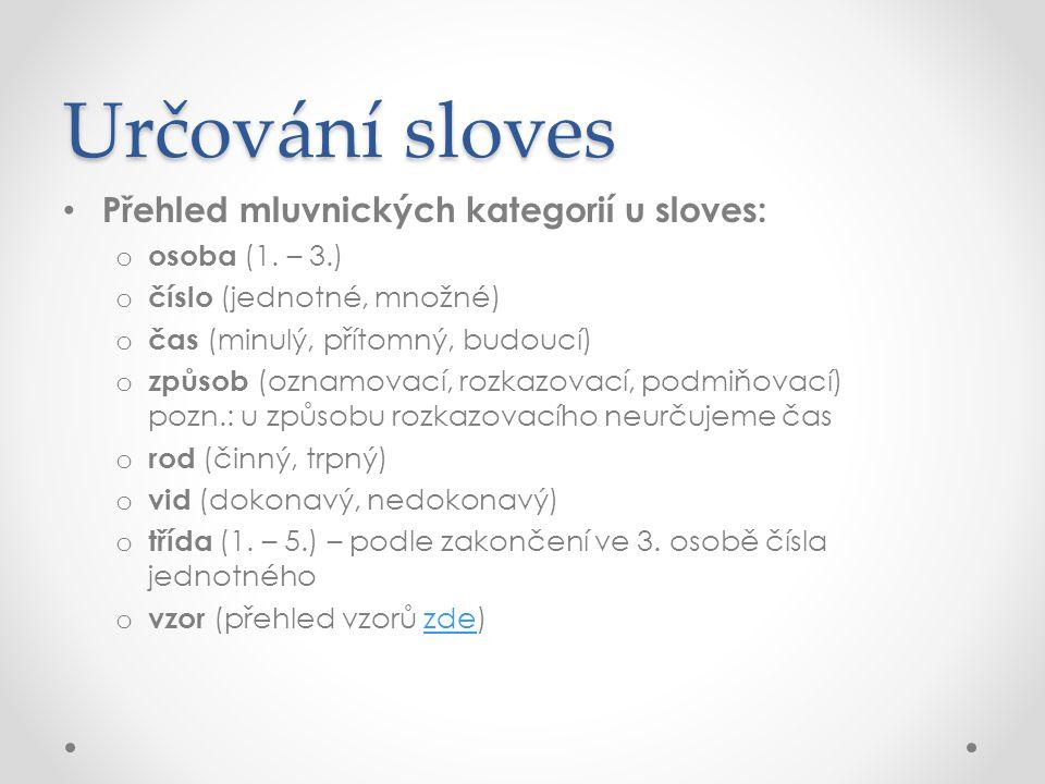 Určování sloves Přehled mluvnických kategorií u sloves: