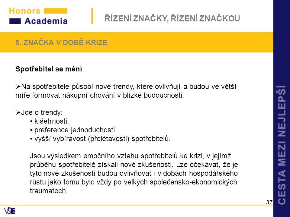 5. ZNAČKA V DOBĚ KRIZE Spotřebitel se mění.