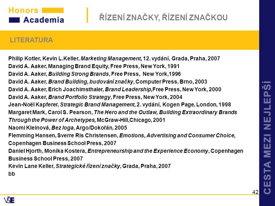 LITERATURA Philip Kotler, Kevin L.Keller, Marketing Management, 12. vydání, Grada, Praha, 2007.