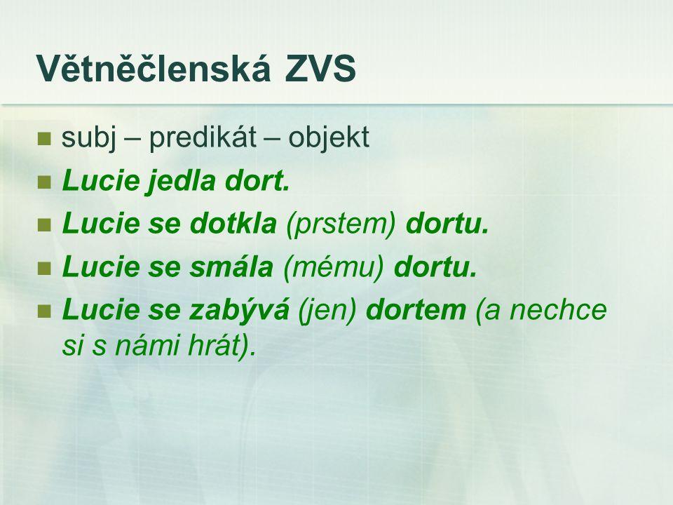 Větněčlenská ZVS subj – predikát – objekt Lucie jedla dort.