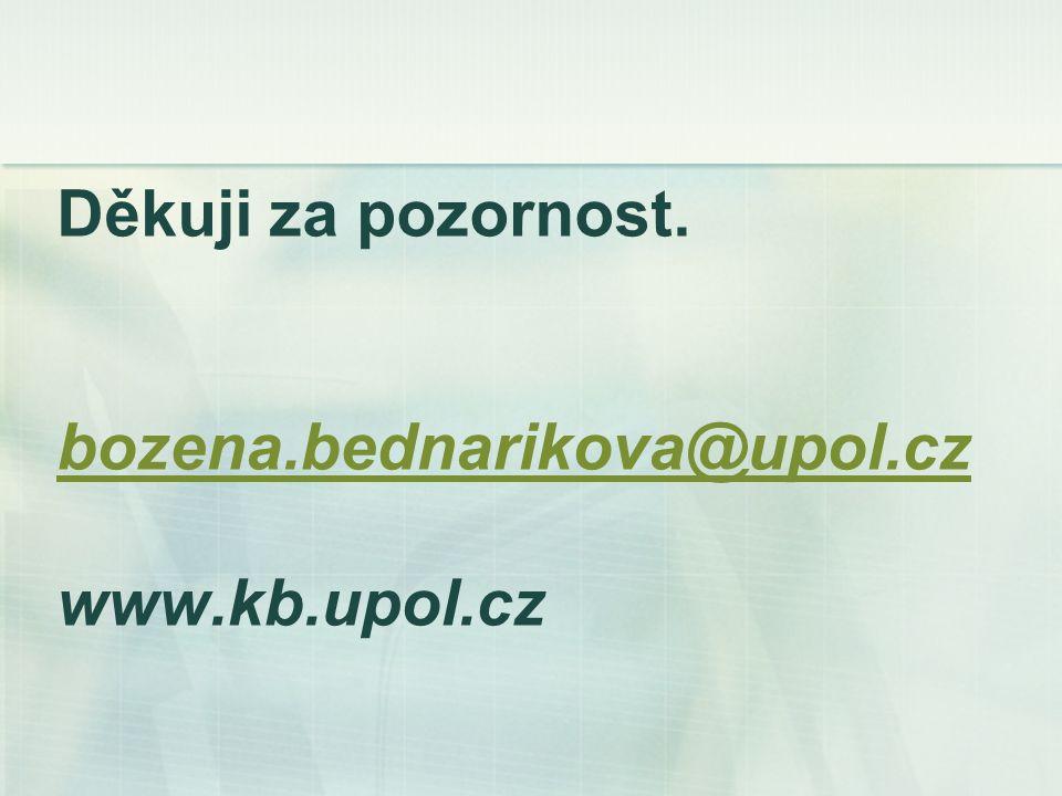 Děkuji za pozornost. bozena.bednarikova@upol.cz www.kb.upol.cz