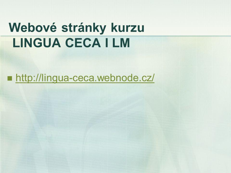Webové stránky kurzu LINGUA CECA I LM