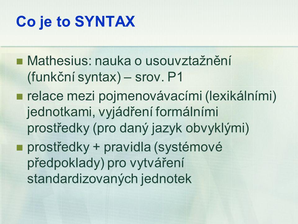 Co je to SYNTAX Mathesius: nauka o usouvztažnění (funkční syntax) – srov. P1.