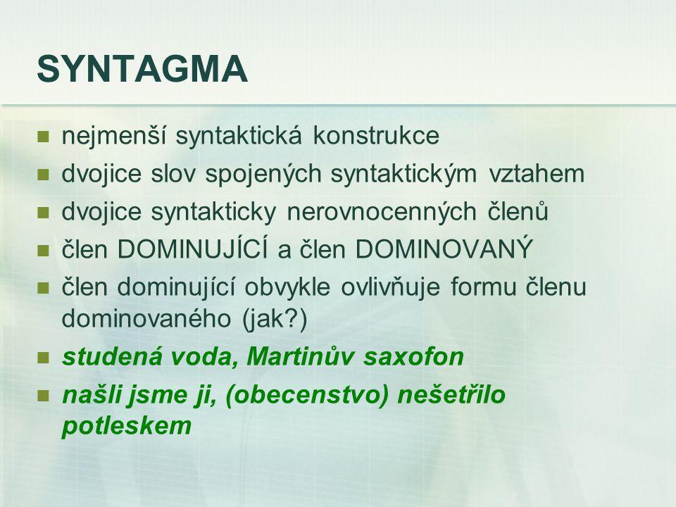 SYNTAGMA nejmenší syntaktická konstrukce