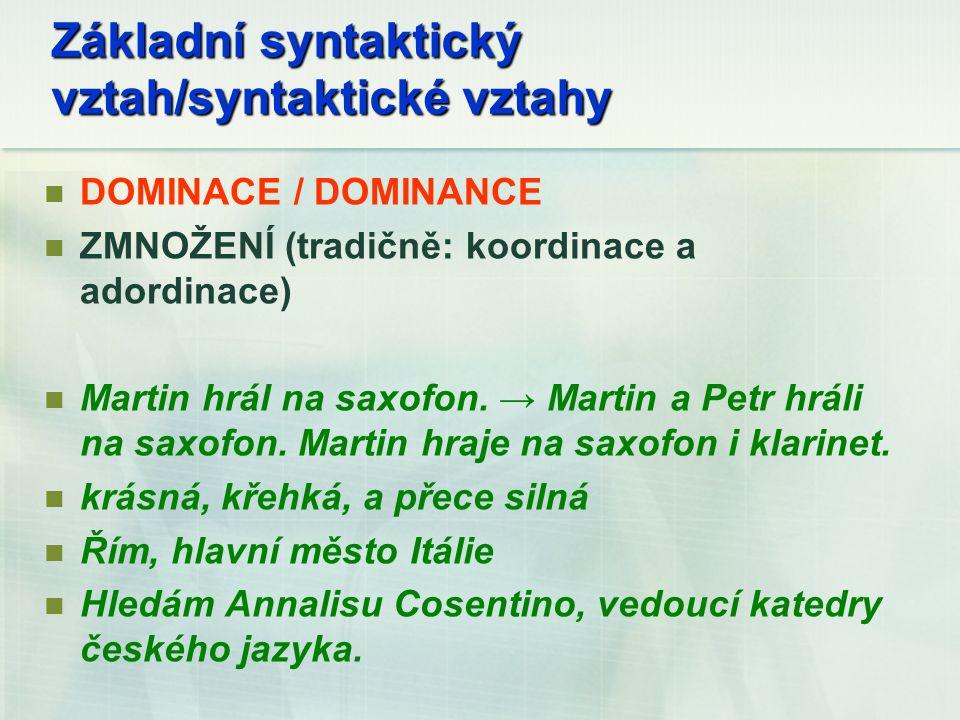 Základní syntaktický vztah/syntaktické vztahy