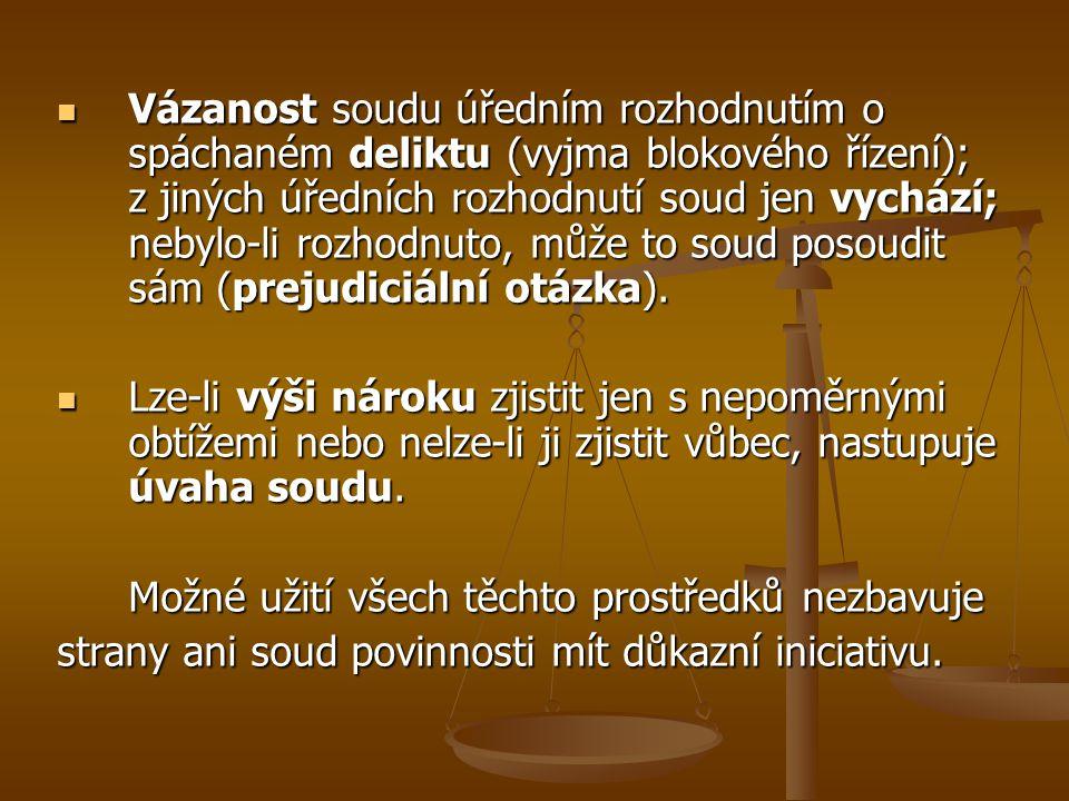 Vázanost soudu úředním rozhodnutím o spáchaném deliktu (vyjma blokového řízení); z jiných úředních rozhodnutí soud jen vychází; nebylo-li rozhodnuto, může to soud posoudit sám (prejudiciální otázka).