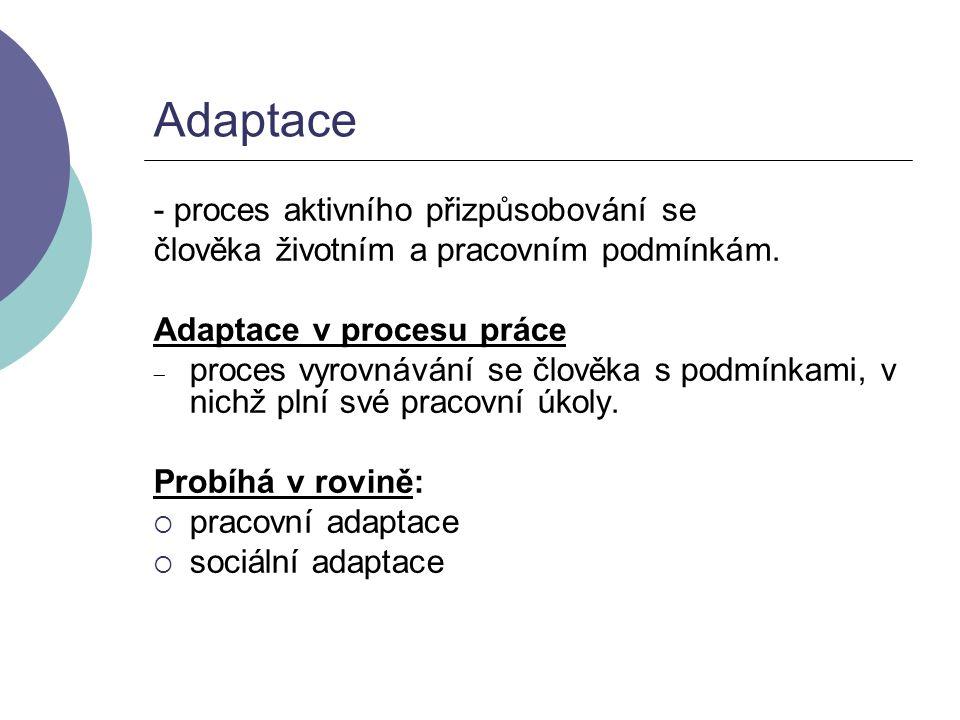 Adaptace - proces aktivního přizpůsobování se