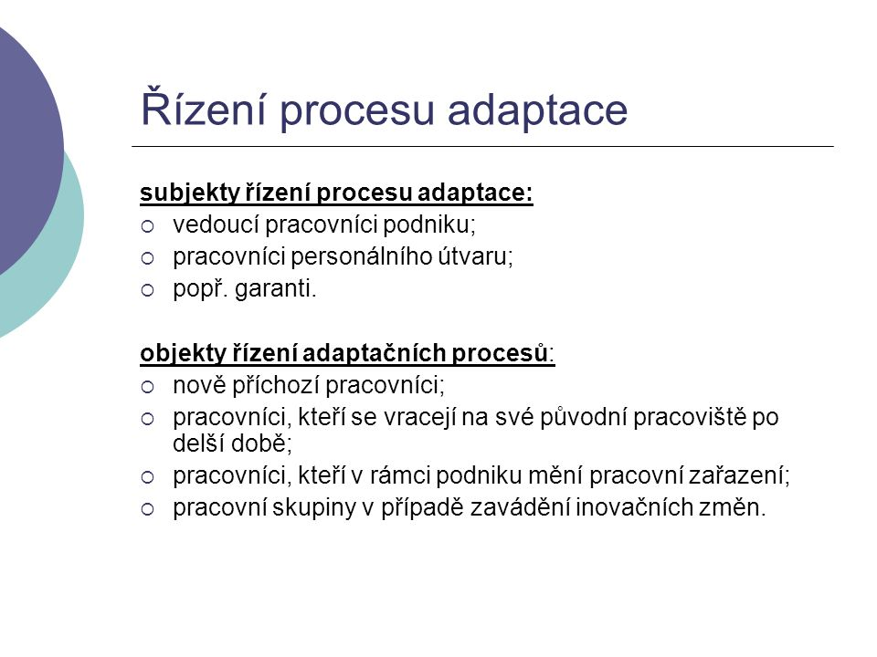 Řízení procesu adaptace