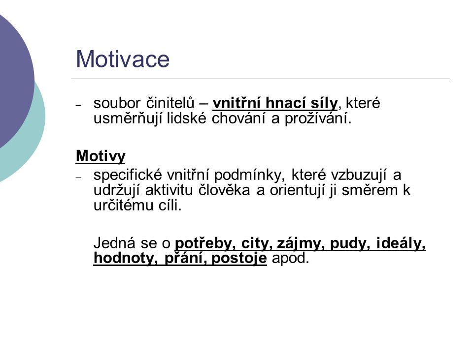 Motivace soubor činitelů – vnitřní hnací síly, které usměrňují lidské chování a prožívání. Motivy.