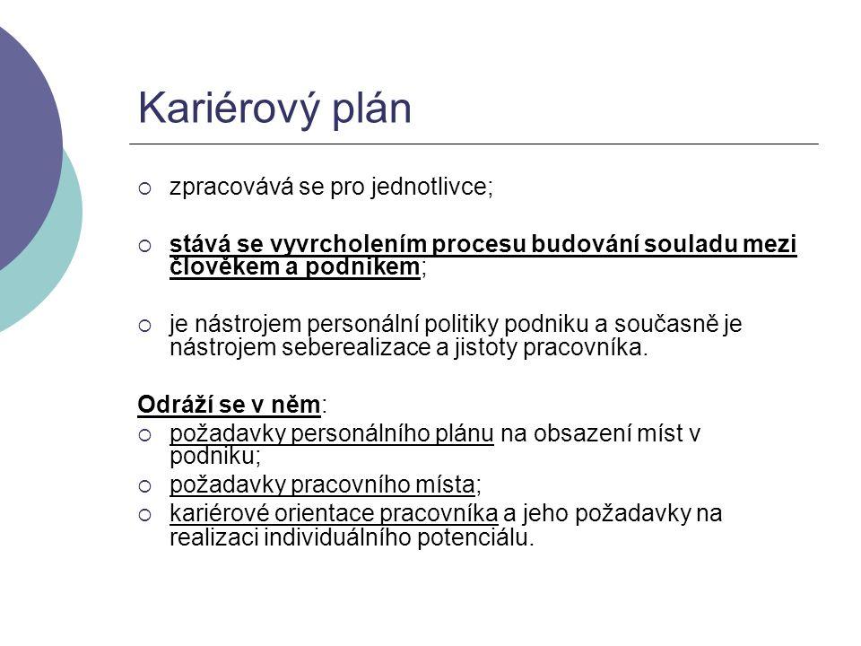 Kariérový plán zpracovává se pro jednotlivce;
